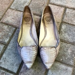 Vince Camuto light gray snakeskin flats